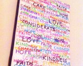 Inspirational Colorful Canvas Word Quote