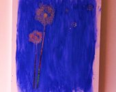 Purple/Blue Canvas Painting with Silver Dandelion Flowers