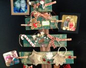 """Primitive, Rustic, Woodland Christmas Family Tree, Hold Pictures. Wood Christmas Tree, Recycled wood about 26"""" tall"""