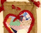 Quilt Heart wall hanging, Using a quilt made by my grandmother   Heart shaped Quilt on Burlap, Wall decor, Wood dowel