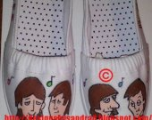 Hand Drawn and Painted Beatles Cartoon Shoes