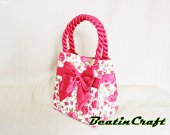 Gorgeous hot pink Flower Print tote,Quilted Fabric Cotton 100% Satin Bag,Princess vintage inspire, Bags&Purses