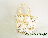 Gorgeous Golden florals Print Wide tote,Quilted Fabric Cotton 100% Satin Bag,Princess vintage inspire, Bags&Purses