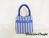 Gorgeous Navy striped tote,Quilted Fabric Cotton 100% Satin Bag,Princess vintage inspire, Bags&Purses  for  Everyday