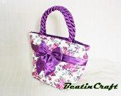 Gorgeous Violet lilac florals Print Wide tote,Quilted Fabric Cotton 100% Satin Bag,Princess vintage inspire, Bags&Purses