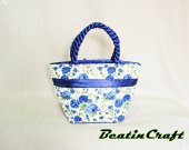 Gorgeous Navy Florals Print Wide tote, Fabric Cotton 100% Satin Bag,Princess vintage inspire, Bags&Purses foe Everyday