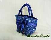 Gorgeous Navy monogram Print Wide tote, Fabric Cotton100% Satin Bag,Princess vintage inspire, Bags&Purses for everyday