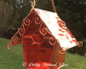 Stained Glass Birdhouse - Orange with Copper Swirls