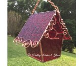 Stained Glass Birdhouse - Ruby Red with Copper Swirls