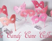 The CANDY CANE COLLECTION - Miniature Hats and Masquerade Masks in  Pink and peach tones