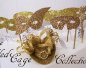 The GILDED CAGE Collection   -   Miniature Hats and Masquerade Masks in Gold Glitter