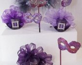 The ROYAL PURPLE  Collection  -   Miniature hats and masquerade Masks in Burgundy,Purple and Silver colors .