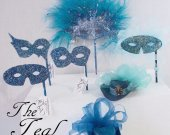 THE TEAL Collection - Miniature Hats and Masquerade Masks in Teal, Blue and Aqua  colors