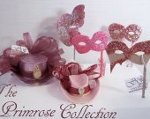 THE PRIMROSE Collection  - Miniature Mini Hats, Masquerade Masks and Hairpin in dusty pink,mauve and lilac tones.