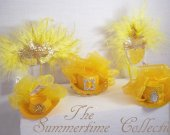 THE SUMMERTIME COLLECTION  - Mini Hats and Masquerade Masks in yellow, copper silver and mango yellow tones