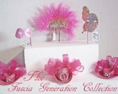 FUSCIA GENERATION Collection    - Miniature  Hats  and  Masquerade  Masks  in Fuscia,Pink, Baby Pink, Rosette, Silver an