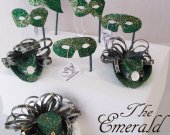 THE EMERALD Collection  - Miniatuer  Hats  and  Masquerade  Masks  in dark to medium Green colors