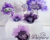 The PURPURA COLLECTION  -  Miniature Mini Hats , Masquerade Masks and Hairpin in purple ,lilac and violet tones