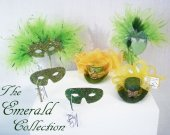 THE PERIDOT COLLECTION   - Miniature  Hats and Masquerade Masks in  Avocado Green, Dark Green, Lime Green and Sage Green