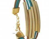 2015 Turquoise and gold bracelet, leather bracelet, women fashion bracelet