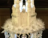 Quinceanera sweet16 cinderella castle Princes Rhinestone lighted cake topper in white