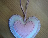 Heart Ornament / Pink & White Heart Decoration / Hand Sewn Felt Heart / Home Decor / Baby Girl Shower / Nursery Decor