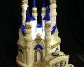 .2 pc. weddind  quinceanera cinderella cadtle  carriage  light cake topper in blue