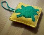 Green Turtle Ornament / Hand Sewn Green Turtle Applique on Yellow / Handmade Felt Decoration / OOAK Turtle