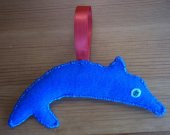 Dolphin Decor / Dolphin Ornament / Handmade Felt Dolphin Ornament / Hand Sewn Blue Dolphin Decoration / OOAK Dolphin Art