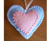Heart Ornament with Applique / Pink Applique on Light Blue Heart with Hanging Loop / Handmade Felt Heart Decoration