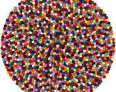 "100cm (39"") Mimosa Design Round Multicolour Felt Ball Rug - Handmade 100% Wool Floor Mat - Custom Designs Also Available"