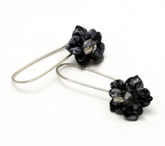 Snowflake Obsidian Flower Drop Sterling Silver Earrings - Jewelry Craft Is Art | Buy and Sell Handmade Crafts, Homemade Gifts & more! :  handmade gifts handcrafted gifts sterling silver drop earrings flower earrings