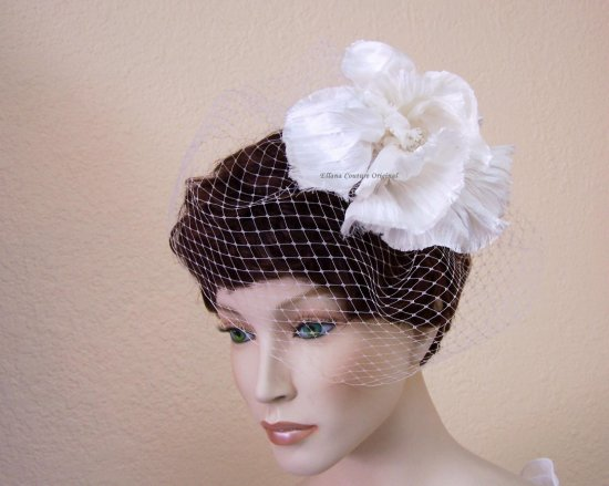 Birdcage Veil with Silk Doupioni Floral Design Vintage Inspired Headpiece