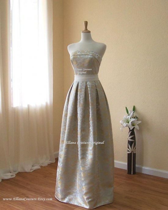 Full Length GORGEOUS Brocade Wedding Dress