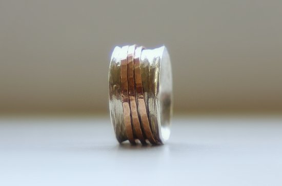 Unique Wedding Ring Rustic Sterling Silver 14k rose gold fill wide