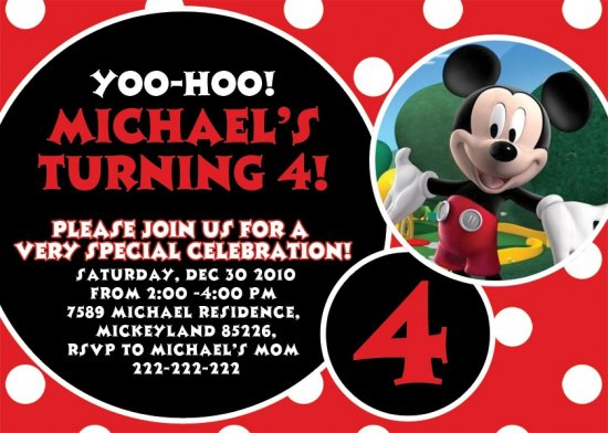 Mickey Mouse Minnie Birthday Party Invitation - DIGITAL FILE