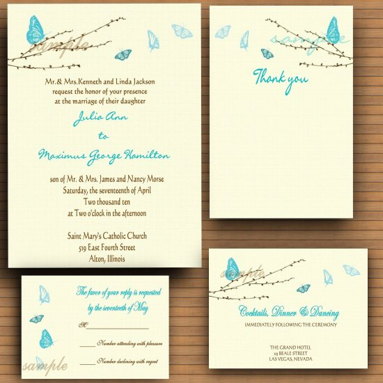 Aqua Butterflies Wedding Invitations DIY print at home Digital File