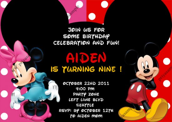 Mickey And Minnie Birthday Invitations wblqualcom