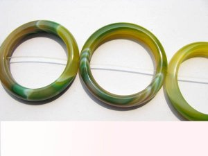 circle roundel yellow green black l veins agate gemstone 38-45mm 9pcs full strand