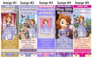 Princess Sofia the First Birthday Party Ticket Invitations, Supplies, and Favors Baby Shower